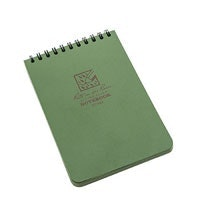 Water-shedding, all-weather notebook.