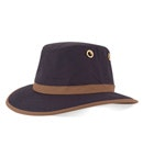 View Tilley Medium Curved Brim Outback Hat - Navy