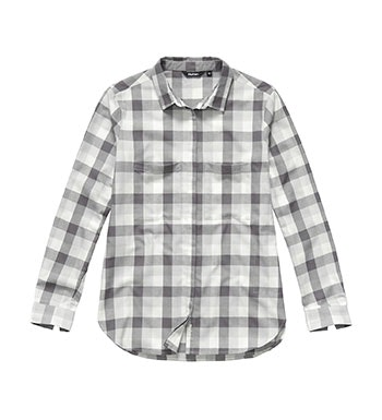 Warm, technical shirt with brushed cotton aesthetic.
