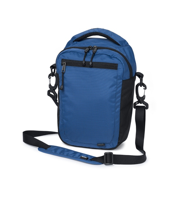 Slim, cross-body, multi-pocket bag.