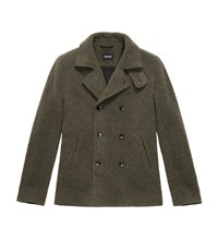 Technical, machine washable, wool-blend pea-coat.