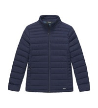 Water repellent down jacket designed for town use.