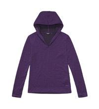 Soft, merino-blend hooded travel top.