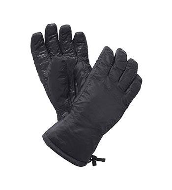 Wadded, fleece-lined winter gloves.