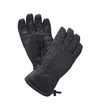 Wadded, fleece-lined winter gloves.