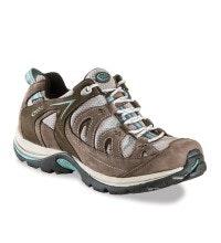 Waterproof, lightweight, close-fitting walking shoe.