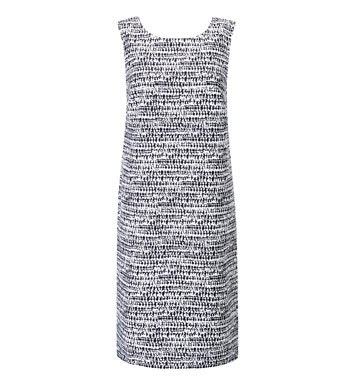 Linen-blend shift dress perfect for hot weather.