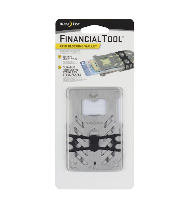 RFID Financial Tool - 7-in-1 multi tool, slim-line wallet with RFID blocking.