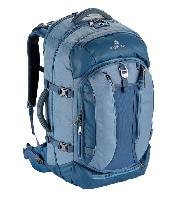 Weatherproof travel pack with ample pockets.