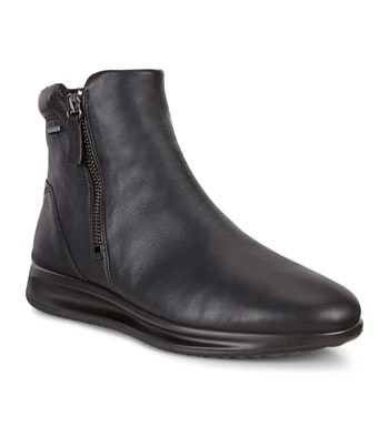 Classic black leather ankle boot.