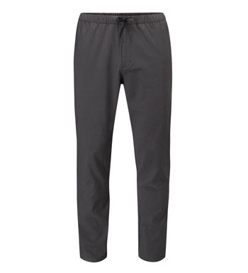 Water-repellent walking trousers with elasticated waist.