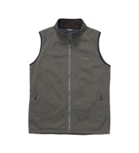 Technical fleece vest with wind resistant front panel.