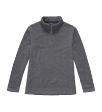 Warm wool-blend pullover with half zip.