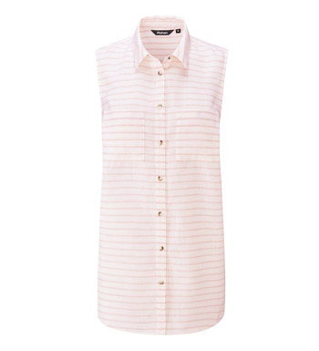 Sleeveless linen shirt, perfect for hot weather.