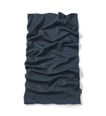 Merino blend necktube with pointelle construction.