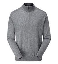 Classic, 100% merino zip-necked pullover.