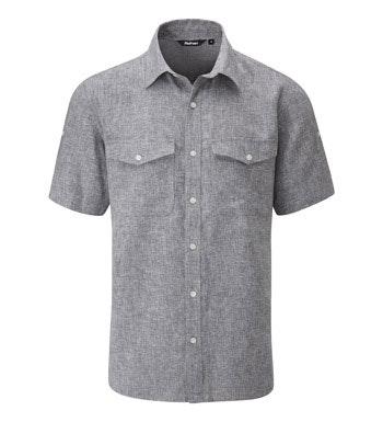 Casual, comfortable, technical linen-blend shirt.