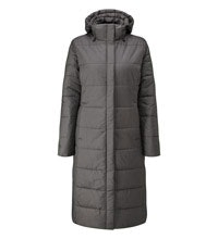 Longer length insulated, water-repellent coat for cold conditions.