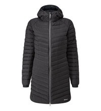 Technical down coat designed for cold weather.