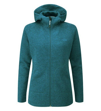 Long length hooded fleece jacket.