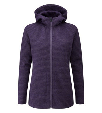 Long length hooded fleece jacket.