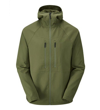 Warm, water-repellent stretch softshell for active outdoor use.