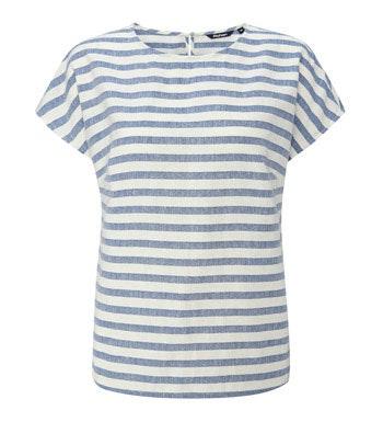 Contemporary, minimalist designed, linen-blend top.