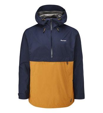 Waterproof, breathable hooded jacket.